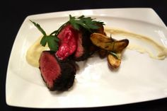 Beef Tenderloin w/Barolo butter and parsnip puree at Gusto, with chef George Morrone, opens in San Carlos