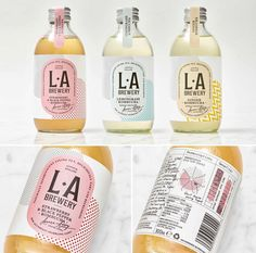 Here Design created the packaging for L.A Brewery, a kombucha brand. The design … Here Design created the packaging for L.A Brewery, a kombucha brand. The design is unique in that it takes a variety of elements and… Cool Packaging, Beverage Packaging, Brand Packaging, Kombucha Fermentation, Kombucha Tea, Kombucha Brands, Kombucha Bottles, Label Design, Package Design