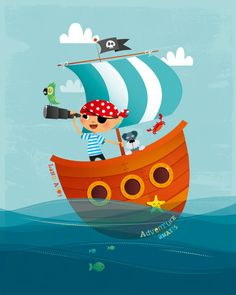 Nursery art - pirate nursery art. Little pirate nursery print. Petey Pirate, the scourge of the sea, sails across the ocean with his best