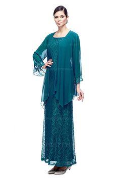 Sheath/Column Scoop Floor-length Lace 30D Chiffon Mother of the Bride Dress