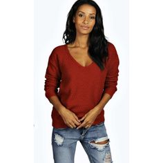 Boohoo Imogen V Neck Jumper ($26) ❤ liked on Polyvore featuring tops, sweaters, rust, jumpers sweaters, red jumper, red top, vneck sweater and red cropped sweater