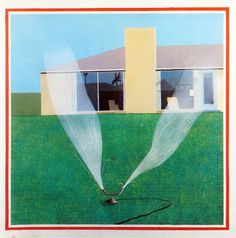 as a child, I remember running through a sprinkler just like this one - wish I could again. painting by David Hockney.