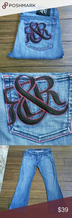 Rock & Republic Jeans Size 31 Pink stiching around pockets and accents.. Minor wear at the bottoms pic 6 98% cotton  2% lycra Inseam 29 1/2 inches  Rise 8 1/2 inches Rock & Republic Jeans Flare & Wide Leg