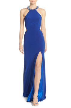 Faviana Embellished Jersey Gown