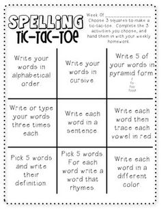 Spelling TicTacToe  Tic Tac Toe Board Toe Board And Tic Tac Toe