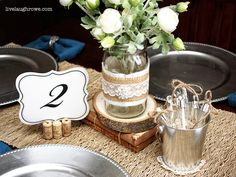 Fabulous Vintage Wedding Tablescape with burlap, wine cork, lace, and twine
