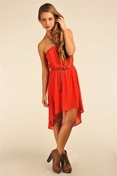 Becky Belted Tube Dress - Red @ necessary clothing