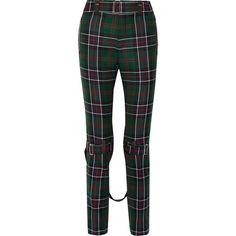 Gucci Tartan wool slim-leg pants ($1,525) ❤ liked on Polyvore featuring pants, emerald, strappy pants, wool trousers, gucci, gucci pants and slim trousers