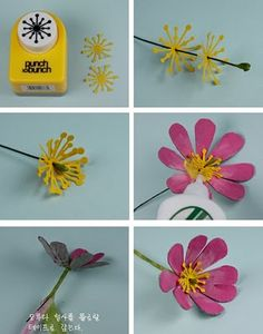 In love with these cosmos flowers made from recycled card and paper by Claire