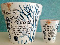 Coastal Decoupage Idea for Pots.... http://www.completely-coastal.com/2017/05/coastal-decoupage-decor.html
