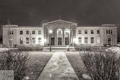 Liuna Station in Hamilton, Ontario.  Heritage building at night. Long exposure Black and White.