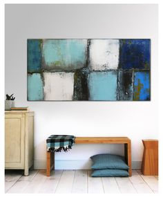 Painting, ABSTRACT ACRYLIC PAINTING / Original wallart Turquoise Lost landscape - 443 Technique: Acrylic & structure on canvas Size: width: 55.1″