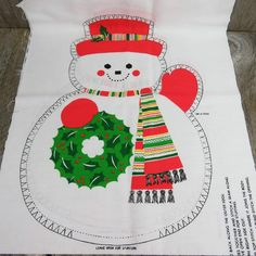 "Snowman Christmas doll fabric panel Cranston 16/"" with cardinal bird door stop"
