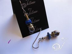 Dark Bronze Pearl and Lapis Sterling Silver and Gold Vermeil Earring.