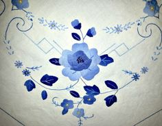 Vintage square appliqued embroidered tablecloth by ValerysGallery, $12.00