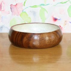 Lovely Vintage Mother of Pearl and Wood Bowl by cocoandcoffeevintage
