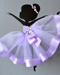 Set of three handmade canvases with Dancing Ballerinas in lavender tutus. Each canvas is 8 X 10. The background and ballerinas are painted with acrylic paint. Dancers are decorated with tulle dresses, silk ribbons, beads and rhinestones. Cute gift idea for baby shower or any ballerina lover.   If youd like to add ribbons for hanging please click on the link below to purchase this option:  https://www.etsy.com/listing/470709654/ribbon-ribbon-for-hanging-canvasses?ref=shop_home_active_1