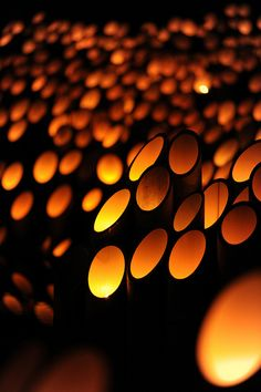 Japanese bamboo lanterns, these would be a great addition to a garden at night.