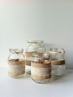 Diy wedding jars, jam jar wedding, hessian wedding, our wedding, rustic wedding Wedding Jars, Diy Wedding, Rustic Wedding, Lace Wedding, Hessian Wedding, Wedding Tables, Wedding Flowers, Wedding Dress, Wedding Table Decorations