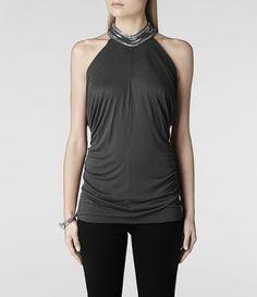 Womens Saxa Top (Washed Black) | ALLSAINTS.com