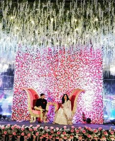 Wedding stage should be elegant and simple. Engagement Stage Decoration, Wedding Hall Decorations, Wedding Stage Design, Wedding Reception Backdrop, Marriage Decoration, Wedding Mandap, Decor Wedding, Wedding Receptions, Modern Wedding Reception