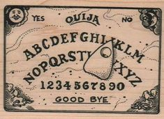 Large Halloween stamps    Ouija board rubber stamps   wood mounted 2266. $13.50, via Etsy.