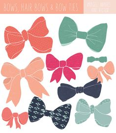 Set of hand drawn bow clip art images and bow tie clip art. Photoshop brushes, and EPS bow vector files are included. Many color variations too!