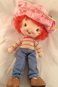 Strawberry Shortcake Doll Plush Pink Hat with Strawberries 11"
