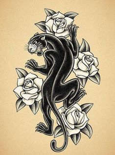Old school tattoo print. - BLACK PANTHER TATTOO PRINT Illustration on old school tattoos inspired by hand in pencil on paper. Panther Tattoos, Black Panther Tattoo, Elephant Tattoos, American Traditional, New Traditional Tattoo, Traditional Panther Tattoo, Neo Traditional, Tattoo Old School, Rose Tattoos