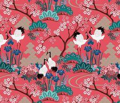 gueth_japanese_garden_red fabric by juditgueth on Spoonflower - custom fabric