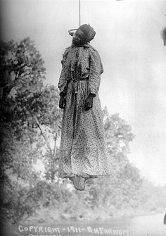 Between the years of 1882 and 1968 4,743 people were lynched on American soil-3,446 of them where African American.The women above is Laura Nelson who was hung on a bridge over the North Canadian River along side her 15 yr old son, Lawrence Nelson. The pictures of the lynchings where later sold as postcards.  Horrible...how could someone do this to another human being?  And then to make them into postcards.  Absolutely sickening!