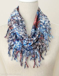 Soft Blues & Peaches Short Knotted Cowl Scarf