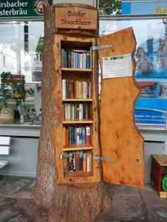 Rustic Tree Log Bookshelf