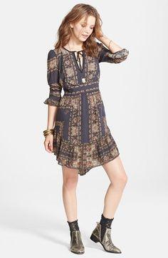 Free People 'Bridgette' Print Ruffle Hem Dress on Vein - getVein.com/download