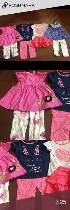 First impressions size 12 months 8 piece lot all first impression from Macy's and all 12 months.  Includes pink top with ruffle sleeves and floral detail with matching floral print pants.  For sleeve navy shirt with bunny face and matching pink floral pants. Gray short sleeved shirt with heart flower design and matching ruffle skort.  Purple tank with polka dots and ruffles on bib with matching white leggings and ruffle bottoms. First Impressions Matching Sets