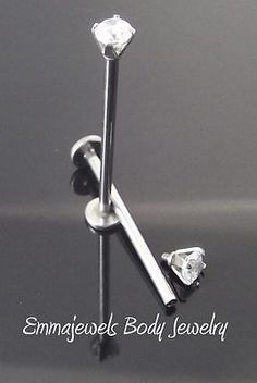 "Pair 16g 3/4"" 19mm CHEEK PIERCING STUD Jewelry Dimple Maker 3mm CZ Prong Set"