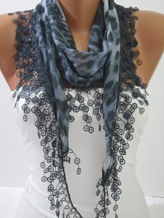 Gray Leopard Cotton Scarf Shawl Headband  Cowl with Lace by DIDUCI, $14.50