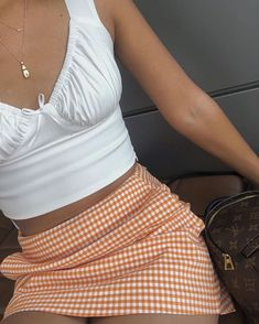 'Tara' crop top - Shop TMP - White cute outfit girl gingham orange skirt Louis Vuitton lv summer fashion style stylish Source by - Trendy Outfits, Girl Outfits, Cute Outfits, Fashion Outfits, Fashion Trends, Latest Fashion, 90s Style Outfits, Fashion Tips, Fashion Beauty
