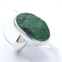 Malachite Druse Ring 925 Sterling Silver | US Size 6 or L | Crystalline Malachite Sparkles with Joy | Capricorn Scorpio | Crystal Heart Melbourne Australia since 1986