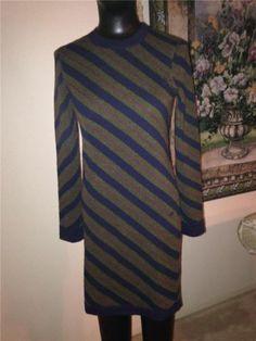 Auth $2800 Chanel 2012 Cashmere Stripe Logo Tunic Sweater Dress Size 36 2 4 | eBay