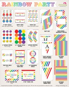Rainbow birthday party printables kit from Chickabug - 35 pages of colorful fun!