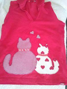 Camiseta con aplicación love cats