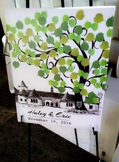 A special twist on the tree guest signing canvas!  You can have a custom made piece of art showcasing your wedding venue, names, and date.  This Castle couple chose to do varying shades of green leaves to keep it real and versatile to their home.