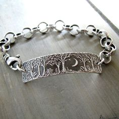Forest Moon Bracelet No. 3, Fine Silver Jewelry, Handmade in Recycled Silver From Original Carving, by SilverWishes by SilverWishes on Etsy https://www.etsy.com/uk/listing/260336193/forest-moon-bracelet-no-3-fine-silver #beautifulfinejewelry