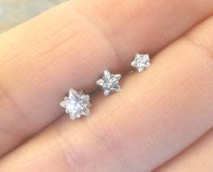 Crystal Star Triple Helix Stud Cartilage Earrings by MidnightsMojo, $25.00