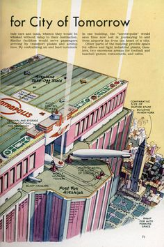 Skyscraper Airship and Plane Airport for City of Tomorrow Futuristic Art, Futuristic Architecture, Art Vintage, Vintage Posters, World Of Tomorrow, Alternate History, Steam Punk, Science Fiction Art, Expo