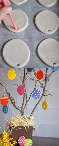 27 Easy and Low-Budget Crafts to Make This Easter Budget Crafts, Diy Home Crafts, Crafts To Make, Diy Niños Manualidades, Dough Ornaments, Diy Easter Decorations, Easter Crafts For Kids, Summer Crafts, Fall Crafts