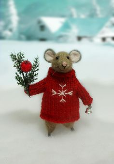 Woolen mouse , Christmas mouse , Mouse with a Christmas twig , Christmas Decoration , Art Doll , Waldorf animal , Eco-friendly