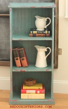 How to Paint a Small Bookshelf and distress it with a damp rag using CeCe Caldwell's Paints in Destin Gulf Green.   REDOUXINTERIORS.COM FACEBOOK: REDOUX INSTAGRAM: REDOUXINTERIORS