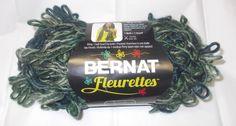 Bernat Fleurettes yarn Great Lakes 100g per skein New 4 medium Craft yarns green #Bernat #Crafts